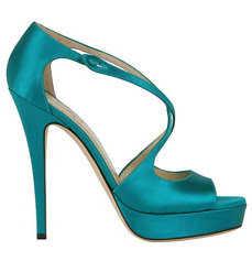 YSL zapatos en seda turquesa